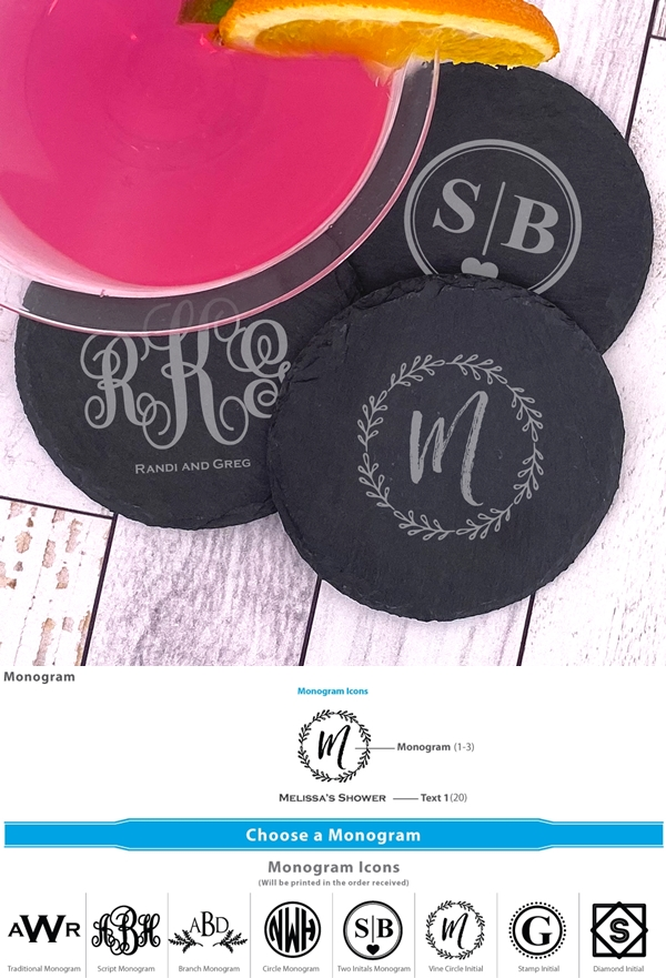 Ducky Days Monogrammed Natural Slate Round Coasters (8 Designs)
