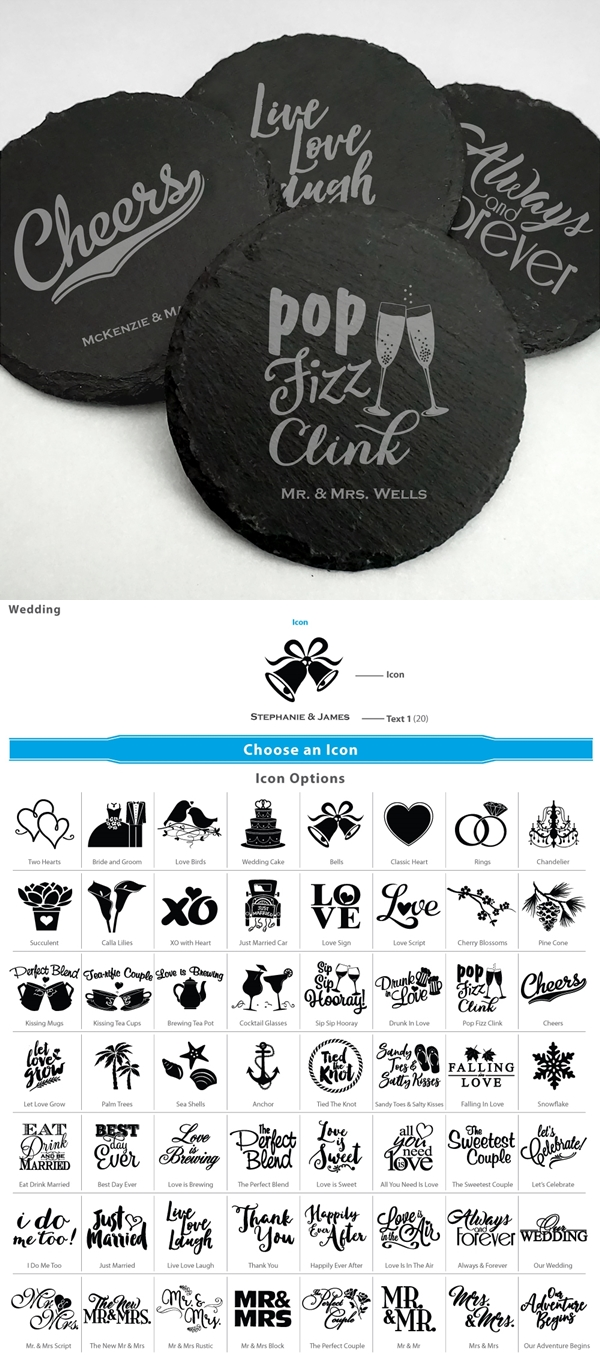Ducky Days Personalized Slate Round Coasters (64 Wedding Designs)