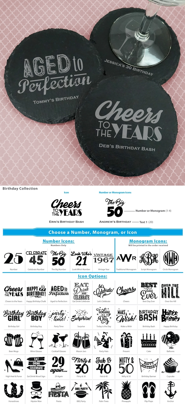 Ducky Days Personalized Slate Round Coasters (Adult Birthday Designs)