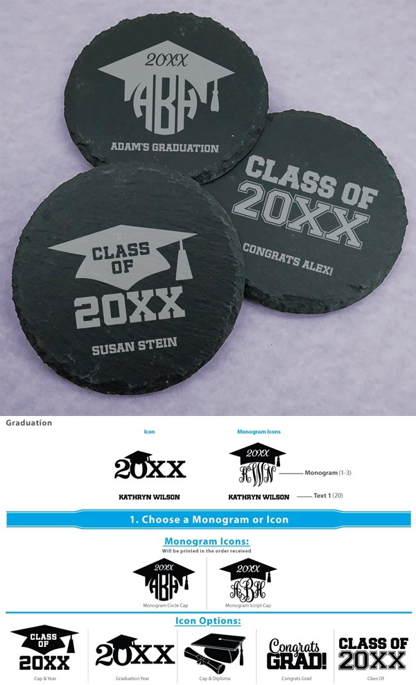 Ducky Days Personalized Graduation Designs Slate Round Coasters