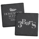 Custom Corporate Logo Natural Slate Square Coasters