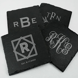 Ducky Days Monogrammed Natural Slate Square Coasters (8 Designs)