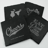 Ducky Days Personalized Slate Square Coasters (64 Wedding Designs)