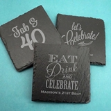Ducky Days Personalized Slate Square Coasters (Adult Birthday Designs)