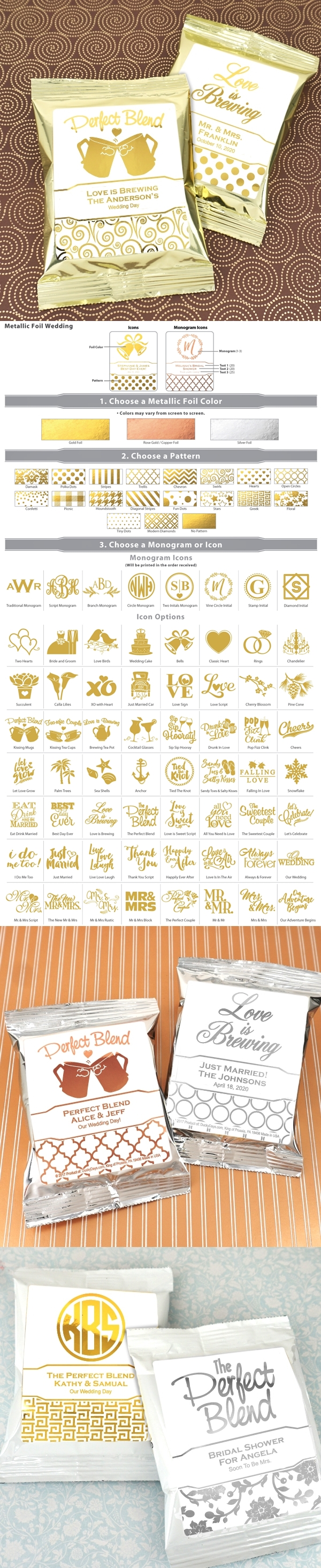 Coffee Packs with Personalized Metallic Foil Stickers (64 Designs)