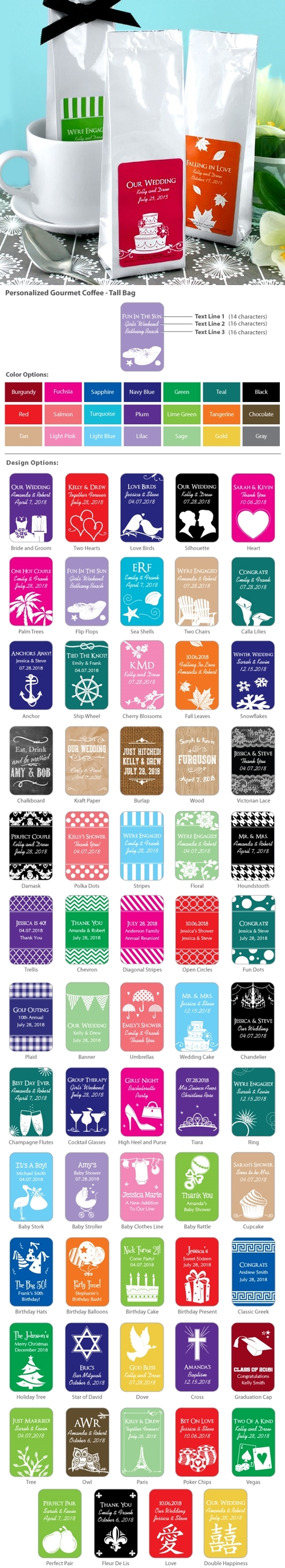 Personalized Silhouette Collection Coffee Tall Bag Favors (56 Designs)