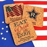 Personalized Patriotic Square Cork Coasters (20 Designs)