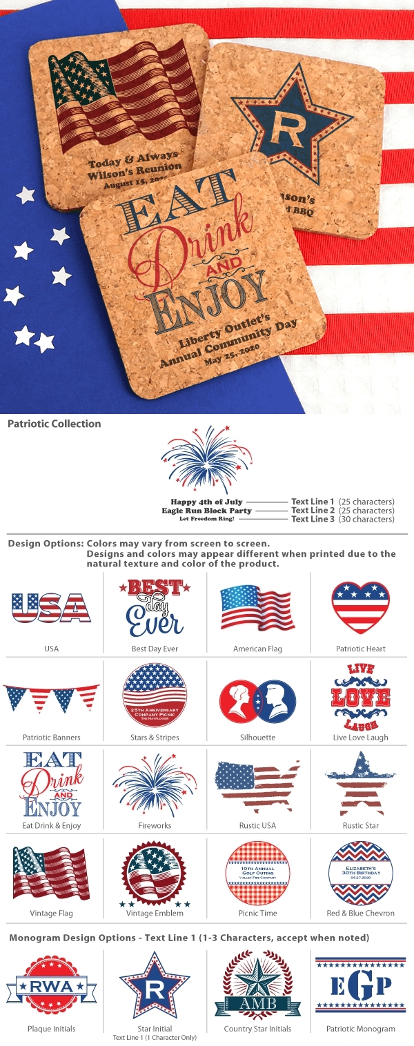 Personalized Patriotic Square Cork Coasters (20 Designs)