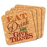 """Eat Drink and Give Thanks"" Square Cork Coasters (Set of 4)"