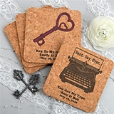 Personalized Rounded-Edge Square Cork Coasters (125 Designs)