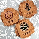 Monogrammed Rounded-Edge Square Cork Coasters (17 Designs)