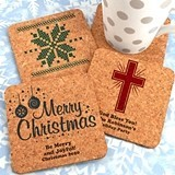 Personalized Holiday Square Cork Coasters (25 Designs)