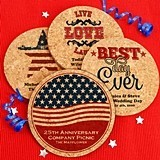Personalized Patriotic Round Cork Coasters (20 Designs)