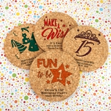 Ducky Days Personalized Kids Birthday Round Cork Coasters