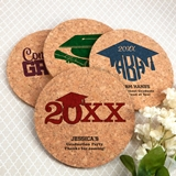 Personalized Graduation Round Cork Coasters (7 Designs; 15 Colors)