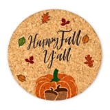 """Happy Fall Y'all"" Round Cork Coasters (Set of 4)"