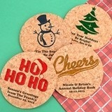Personalized Holiday Round Cork Coasters (25 Designs)