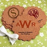 Monogrammed Scalloped-Edge Cork Coasters (17 Designs)