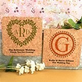 Monogrammed Rounded-Edge Square Cork Coaster Magnets (17 Designs)