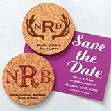 Monogrammed Round Cork Coaster Magnets (17 Designs)