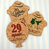 Ducky Days Adult Birthday Theme Shaped Cork Coasters (15 Colors)