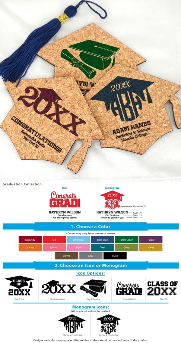 Ducky Days Graduation Cap-Shaped Cork Coasters (15 Colors)
