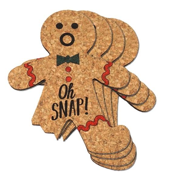 Oh Snap! Gingerbread Man Cork Coasters (Set of 4)
