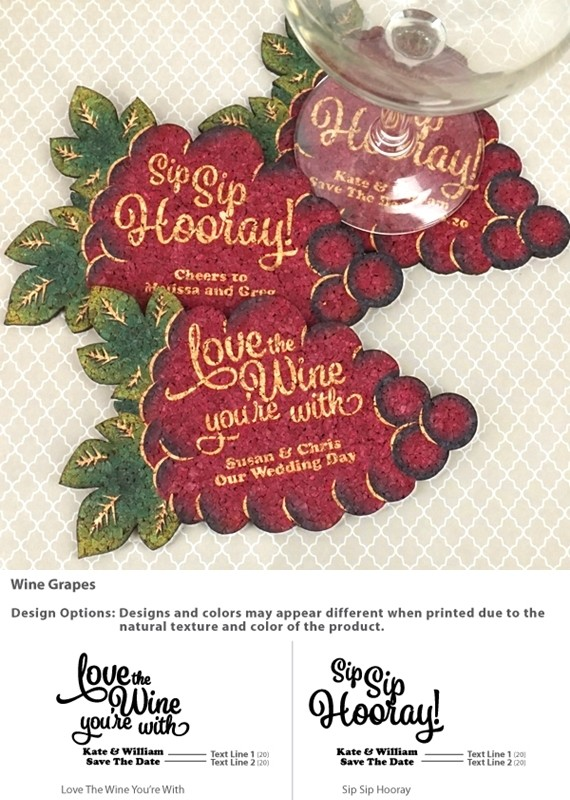 Personalized Wine Grape Cluster-Shaped Theme Cork Coasters (15 Colors)