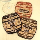 Personalized Oak Barrel-Shaped Theme Cork Coasters (15 Colors)