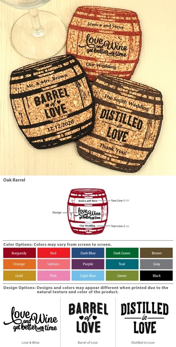 Personalized Oak Barrel Shaped Theme Cork Coasters (15 Colors)