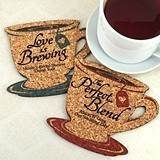 Personalized Tea Cup-Shaped Theme Cork Coasters (15 Colors)
