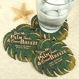 Personalized Palm Leaf-Shaped Theme Cork Coasters