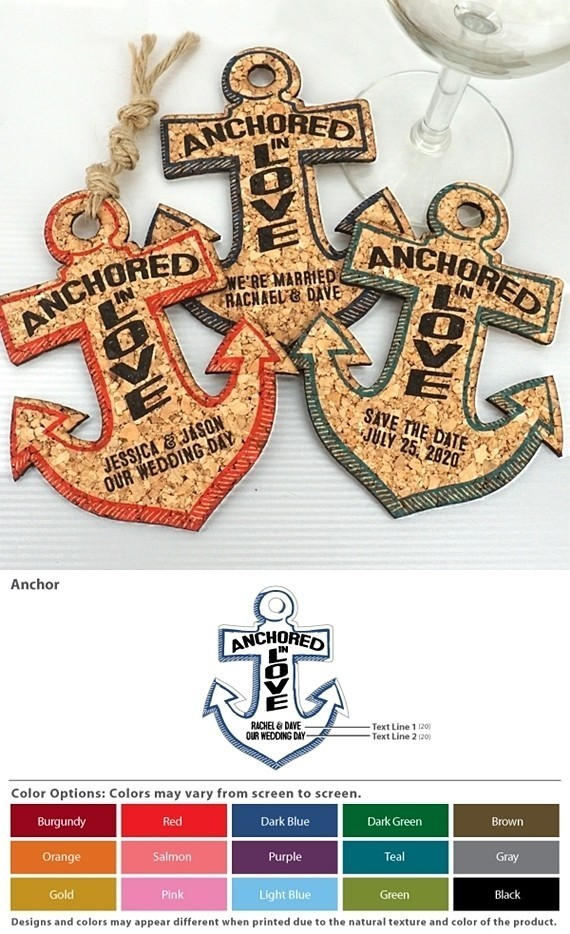 Personalized Nautical Anchor-Shaped Theme Cork Coasters (15 Colors)
