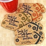 Personalized Pair of Flip-Flops-Shaped Theme Cork Coasters (15 Colors)