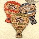 Personalized Hot Air Balloon-Shaped Theme Cork Coasters (15 Colors)