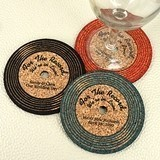 Personalized Vinyl Record-Shaped Theme Cork Coasters (15 Colors)