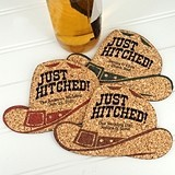 Personalized Cowboy Hat-Shaped Theme Cork Coasters (15 Colors)