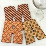 Personalized Initial Shaped Cork Coasters (10 Patterns) (15 Colors)