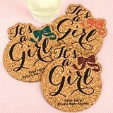 Personalized 'It's a Girl!' Baby Shower Cork Coasters (15 Colors)