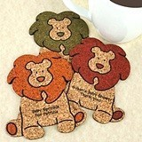 Personalized Baby-Lion-Shaped Baby Shower Cork Coasters (15 Colors)