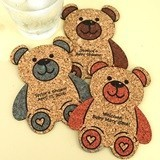 Personalized Baby-Bear-Shaped Baby Shower Cork Coasters (15 Colors)