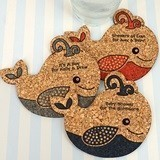 Personalized Baby-Whale-Shaped Baby Shower Cork Coasters (15 Colors)