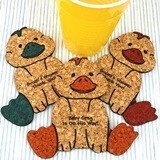Personalized Baby-Duck-Shaped Baby Shower Cork Coasters (15 Colors)