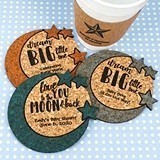 Personalized Moon and the Stars Baby Shower Cork Coasters (15 Colors)