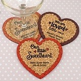 Personalized Heart-Shaped Baby Shower Cork Coasters (15 Colors)