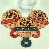 Personalized Baby Rattle Shaped Baby Shower Cork Coasters (15 Colors)