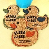 Personalized Rubber Ducky-Shaped Baby Shower Cork Coasters (15 Colors)