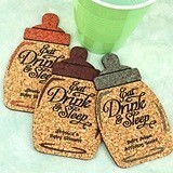 Personalized Baby Bottle-Shaped Baby Shower Cork Coasters (15 Colors)