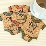 Personalized Onesie-Shaped Baby Shower Cork Coasters (15 Colors)