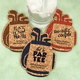 Personalized Golf Bag Shaped Cork Coasters (15 Colors)